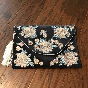 anthropologie envelope clutch with embroidery